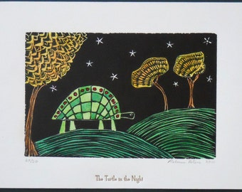 Turtle in the Night - a hand-colored linocut print