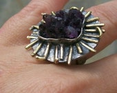 Adjustable Amethyst Medusa Ring