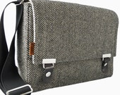 Small unisex  messenger bag with extra pockets  -  gray herringbone  wool - by stash