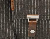 Stash messenger / 13 inch laptop bag - brown pinstripe wool