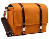 Medium camera messenger bag with leather strap  - orange with dark brown leather