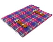 "11"" MacBook Air case - pink, purple and gray vintage plaid"