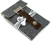 iPhone 3 or 4 sleeve - gray herringbone wool