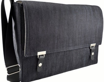 "13"" / 15"" MacBook Pro Retina messenger bag - dark blue denim"