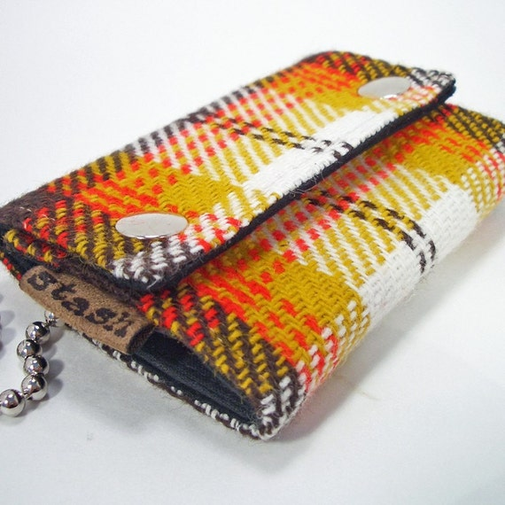 Billfold key chain wallet - brown, yellow  and red vintage wool - by stash
