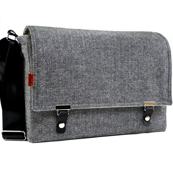 Large camera messenger bag  - gray herringbone tweed