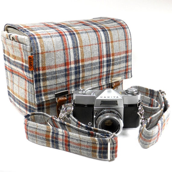 Medium camera messenger bag with detachable camera strap - gray, navy and rust vintage wool