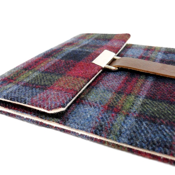 Nook Simple Touch / Kindle Touch case - purple, blue and green wool tweed