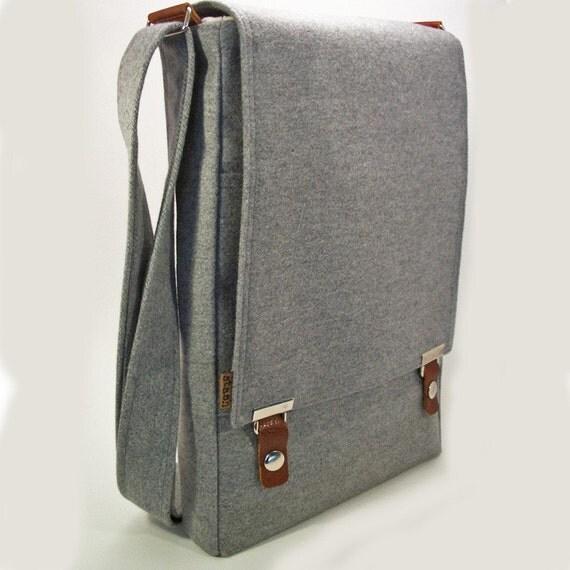 Messenger \/ 13 inch laptop bag  - light gray cotton - by stash