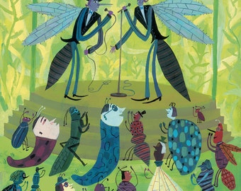 Bug Show original illustration from Flamingos On The Roof by Calef Brown