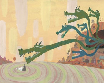 Scylla and Charybdis original illustration by Calef Brown from Greece Rome Monsters for The Getty Museum