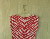 VINTAGE 80s red zebra crop tshirt tank muscle
