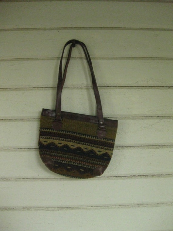 VINTAGE 70s southwest woven leather purse bag tote ethnic Indian