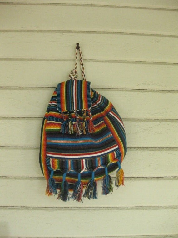 VINTAGE ethnic woven backpack- blanket back pack bag stripe fringe big