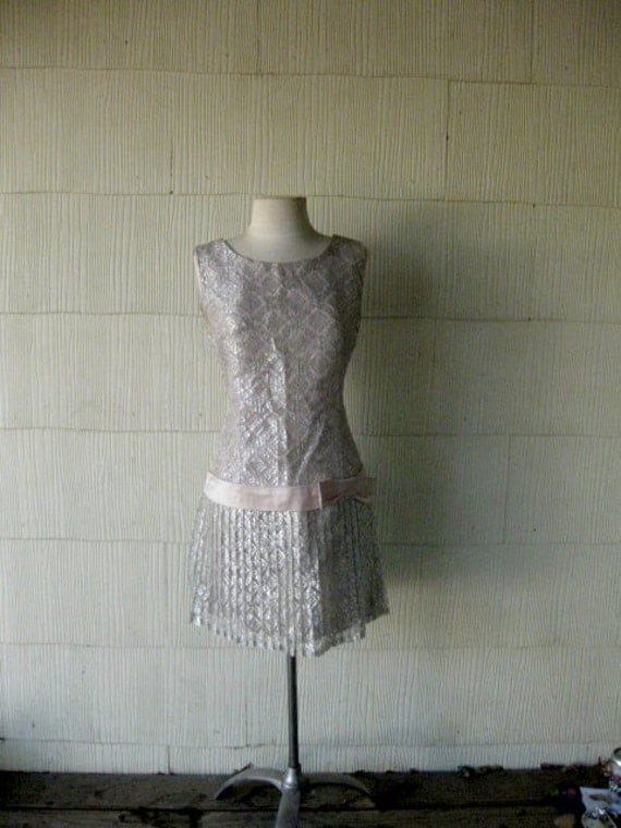 VINTAGE 60s silver lace mini dress- satin bow sleeveless drop waist party