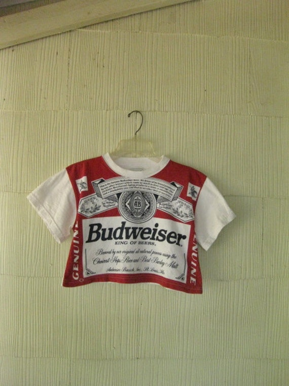VINTAGE Budweiser t-shirt crop top 80s beer Americana