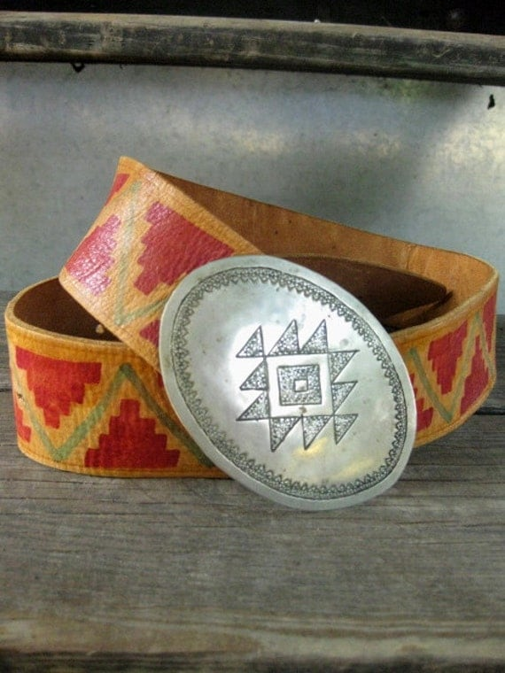 VINTAGE 70s southwesten leather concho belt hand painted