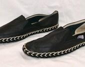 Vintage Luxurious Black Leather Plimsolls Shoes. Sz 44
