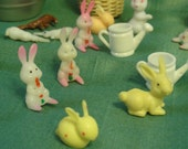 Miniature Plastic Easter Bunnies and baskets / FREE Shipping