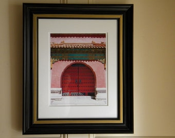 Framed Photography, Red Doors Photo, Asian Art, Framed Art, Architectural Photography, Travel Photography, Red Asian Decor, 16x20