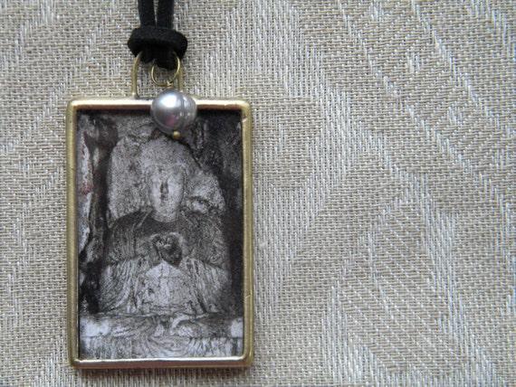 Buddha Necklace, Wearable Art, Buddha Jewelry, Miniature Art Buddha Pendant, Necklace with Pearl, Buddha Art Jewelry, June Birthstone