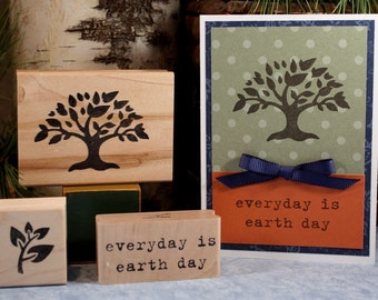 TREE SILHOUETTE Rubber Stamp~A Tree for all Seasons~Earthday Stamp~Fall Autumn and Summer Tree~wood mounted rubber stamp (05-08)