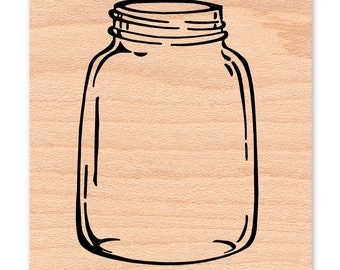 RUBBER STAMP Mason Jar Canning Jar Ball Jar Large stamp Vintage Jar Wedding Stamp (11-15)