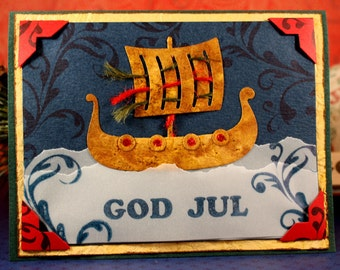 GOD JUL (Merry Christmas) - Wood Mounted Rubber Stamp (mcrs 10-09)