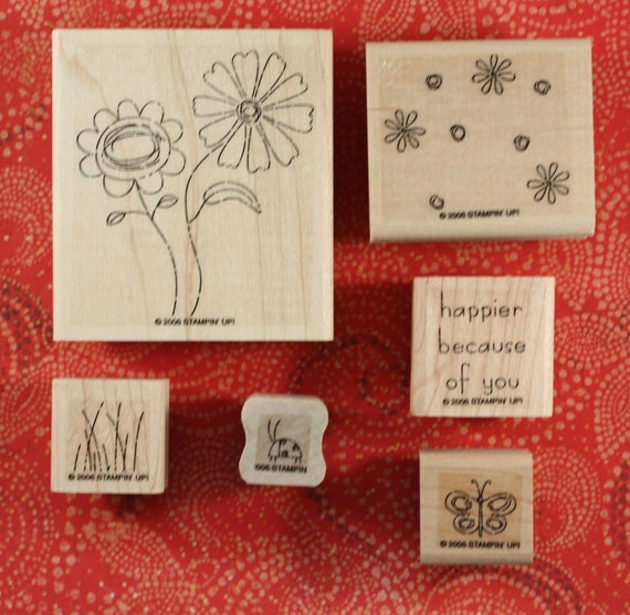 Stampin-Up-  Because of You - New - Rubber Stamp Set of 6