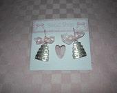 Wedding Cake earrings with pink polka dot bow