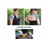 CROCHET PATTERN - Flowered Bow Crocheted Shrug - PDF