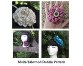 Multi-Talented Dahlia Accessory PATTERN (3 Patterns in One) (headband/lariat, ring, fascinator)