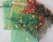 Organza Bags-Christmas Theme 5 count, you choose colors