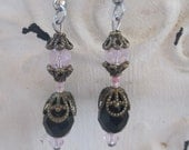 Earrings by Tal,Black Swarovski Crystal Tear Drops with Bronze Accents