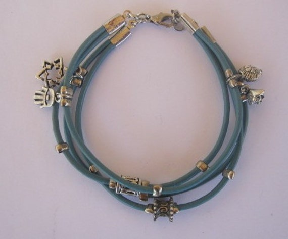 Turquoise Leather Charm Bracelet with Silver Tone Accents