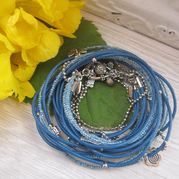 Blue Leather Wrap Bracelet-boho style stacking accessory with silver charms-gift for her