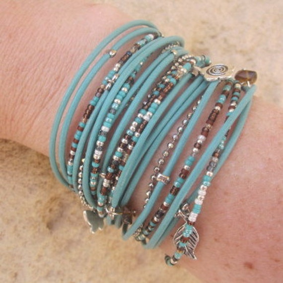 Boho Wrap Bracelet Light Turquoise Leather with Custom Mix Glass Miyuki Beads in Turquoise, Brown, Pearl and Silver