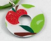 Upcycled Washer Pendant - Apples