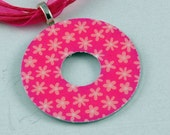Upcycled Washer Pendant - Pink Daisies