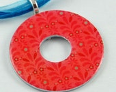 Upcycled Washer Pendant - Pink and Blue No. 1