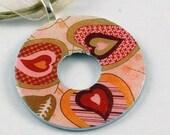 Upcycled Washer Pendant - Hearts No. 2