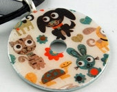 Upcycled Washer Pendant - Furry Friends