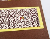 Two blank note cards 4.5 x 5 - Birds on Damask - Brown