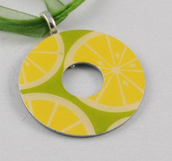 Upcycled Washer Pendant - Lemon Slices