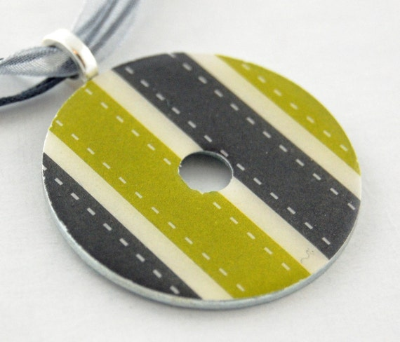 Upcycled Washer Pendant - Gray and Chartreuse Stripe