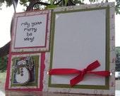 HANDMADE Card/Photo Holder/Snowman and lights/Postcard