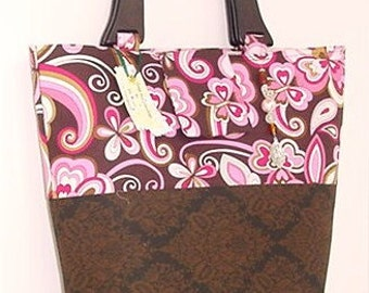 Retro Pink Swirls in Chocolate Travel Tote Carry On