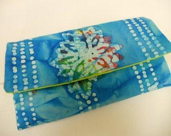 Wallet / Wristlet / Cell Phone / Checkbook / Bridesmaid Gifts / Flower Power Batik