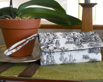 Black and White Toile Wallet / Writslet / Cell Phone / Check Book / Bridesmaid Gifts
