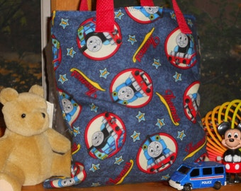 Thomas the Train Childs Tote / Book / Party Favor Bag / Organizer / Overnight Bag / Embroidered